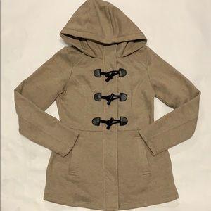 Sebby Tan Biege Taupe Hoodie ZIP Jacket Small EUC